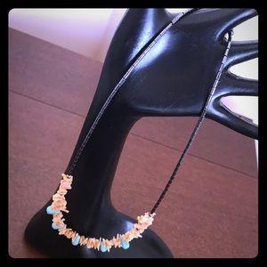 "9"" Navajo turquoise hematite heishi necklace"